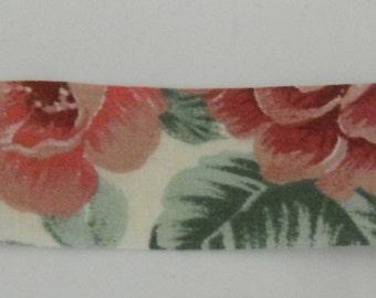 Mauve Flower Fabric Ribbon 7 Yards