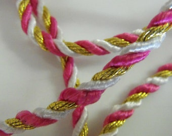 Pink Gold and White Wired Cording 3 Yards