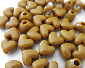 50 Brown Heart Pony Beads
