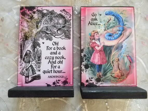 Go Ask Alice In Wonderland Decorative Bookends