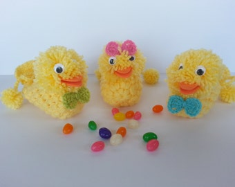 Crochet Jelly Bean Duck--Jelly Bean Holder-Pooping Duck-Easter Decoration-Jelly Bean Duck-Candy Duck Dispenser