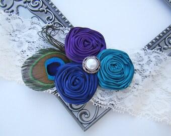 Sexy Glam Crystal Posh Teal Blue Black & Navy Blue Rosette Trio Peacock Bridal Pearl Ivory Lace Wedding Garter