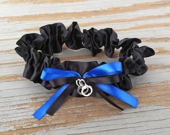 Black & Royal Blue Police Satin Wedding Garter With Handcuff Charm Bridal Garter or Garter SET