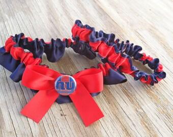 New York Giants Bridal Satin Wedding Garter Navy Blue & Red Keepsake Or Garter SET