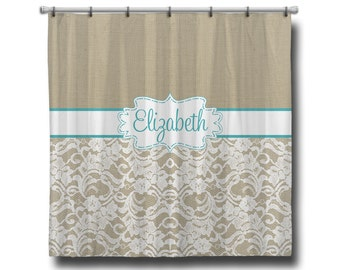 "Custom Personalized Monogram Shower Curtain, 70"" x 70"", 70"" x 90"", or ANY size Burlap & Lace"