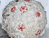 Vintage Bridal Brooch Bouquet Pearl Rhinestone Crystal Silver Ruby Red Ivory - One Day RUSH ORDER Available - BB040LX
