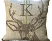 Grainsack Stripe Burlap Deer Antlers Custom Monogram Brown or Black in Choice of 14x14 16x16 18x18 20x20 22x22 24x24 26x26 inch Pillow Cover