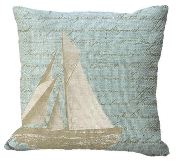 Sailboat on Aqua Blue  Burlap or Cotton Canvas Pillow Cover in Choice of 14x14 16x16 18x18 20x20 22x22 24x24 26x26 inch Pillow Cover