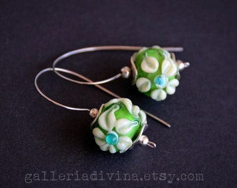 35% OFF - Lampwork earrings - Green and beige flowers - Glass flowers - Murano glass - Handmade beads