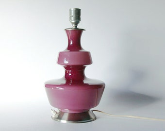 Vintage Danish Purple Glass Table Lamp with Two Light Points - 1970s Holmegaard