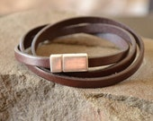 Brown Leather Bracelet with Magnet Clasp, Brown Wrist Strap