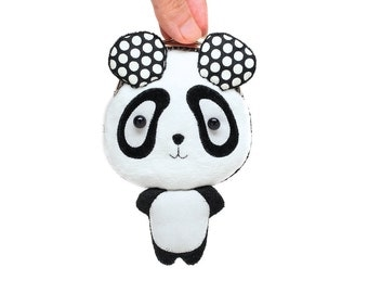 Cute dotty white panda clutch purse