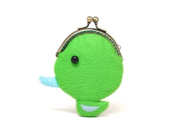 Tiny green duck coin pouch