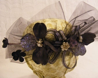 Black Cherry Blossom and  Dogwood Hair Fascinator, Hair Flower, Black, Silver and Pearl