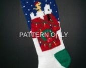 PDF Pattern Only Hand Knitted Beagle on a Doghouse Christmas Stocking