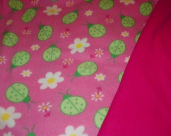 Green Ladybugs Baby Blanket  with a Hot Pink  Backing    Double Fleece Sewn Together