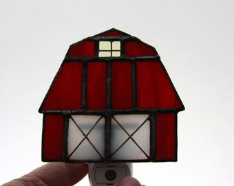 Little Red Barn Stained Glass Sensored Night Light