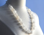 Quartz Necklace Long Bold Silver  Chain Flapper Inspired Modern Simple Minimalist Nuggets Chain