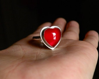 Heart Carnelian and Sterling Ring -  L.O.V.E. - Size 9.5, Ready To Ship