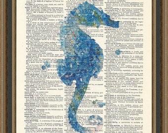 Watercolor seahorse illustration printed on a vintage dictionary page. Ocean Print, Bedroom Print, Nautical Print, Nursery Print.