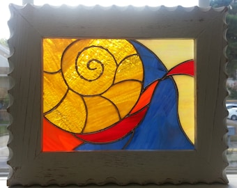 Original Nautilus Shell Stained Glass Panel - Framed in wood