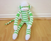 Limeade sock monkey plush with lime green and white stripes - sock monkey doll