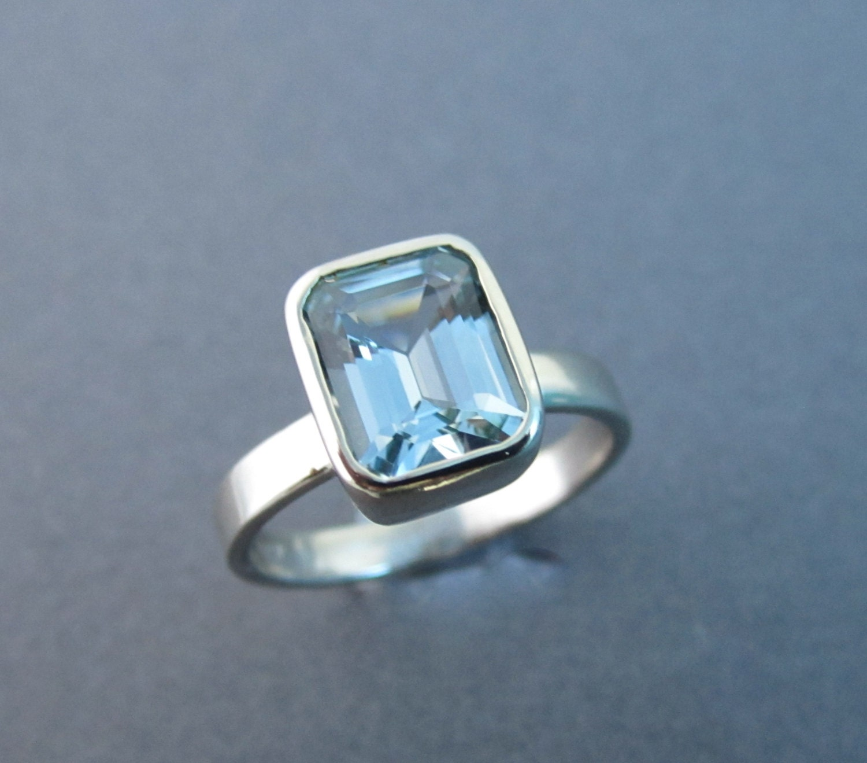 white gold 14kt aquamarine ring emerald cut by theresa pytell