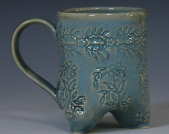 Large sea green tripod mug - holds 2 cups liquid