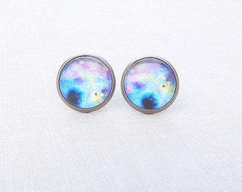 Galaxy Stud Earrings - Purple Galaxy Studs - Nebula Studs - Dainty Galaxy Earrings- Gift For Her - FREE SHIPPING