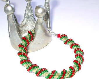 Red & Green Cellini Spiral Bracelet, Bangle Bracelet, Hand Made in the USA