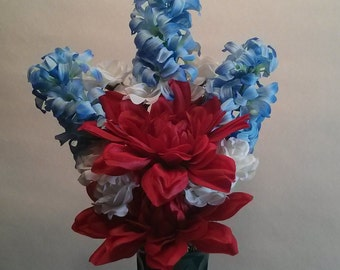 Memorial Flowers for Grave Decoration Red Dahlias White Roses Blue Hyacinth Cemetery Flowers Memorial Day Flower Arrangement Grave Flowers