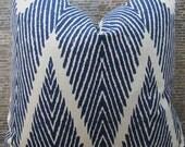 Designer Pillow Cover - Lumbar, 16 x 16, 18 x 18, 20 x 20, 22 x 22, 24 x 24 - Bali Chevron Ikat Indigo
