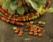 Retro Mix: Pink, Coral, Green Bone Rondelle Heishi Beads / 5x2mm / Dyed Cow Bone, India / Rich Colors, Craft, Jewelry Making Supplies
