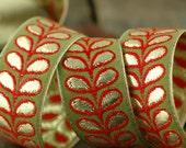 "Last Piece, Garden Plume Ribbon, Sari Border, India, 1 1/4"" x 1 yard, Ornate, Green, Red, Gold, Spring Craft, Decorating Sewing Supply Decor"