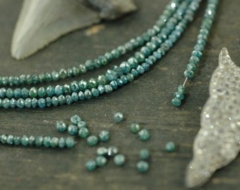 """A Girls' Best Friend: Natural Blue Diamonds Faceted Rondelle Beads / 15 beads 2x1.5mm, 1"""" / Organic Gemstone, Jewelry Making Supplies"""