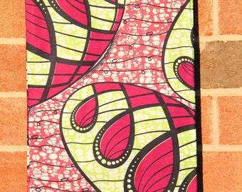 "Pink & Green Bubbles Print BATIK Ankara, Hollandais African wax print fabric /Neon Pink, Green /1 yard x 46"" /Tribal Sewing Supplies Yardage"