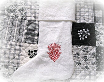 Red/ European/ crest/ embroidered/ white linen/ Christmas stocking/ wedding/ shower/ Christmas decor