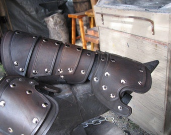 Battle Ready Plated Leather Gauntlets in Black and Nickle