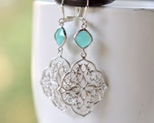 Flower Teardrop Dangle Earrings with Turquoise Blue Jewels. Large Silver Dangle Earrings.  Holiday Jewelry.  Gift for Her.  Jewelry Present.