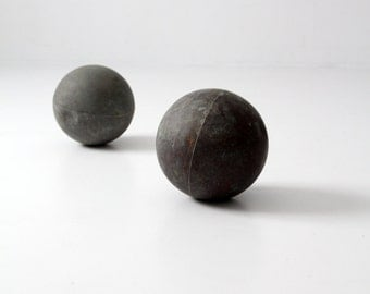 antique copper floats, nautical ball pair