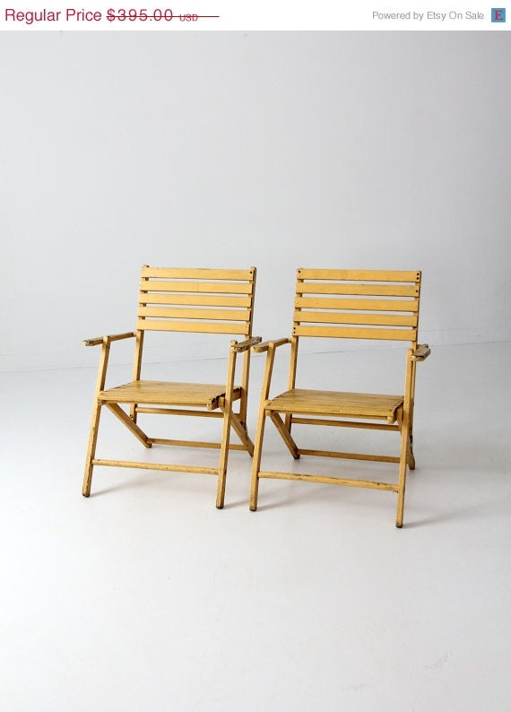 Free ship vintage slat wood folding chairs pair yellow for Outdoor furniture yellow