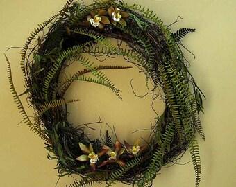 Rain forest wreath, fern wreath, exotic wild orchids, woodland wedding decor, year-round wreath, vines, ferns, small orchids, moss