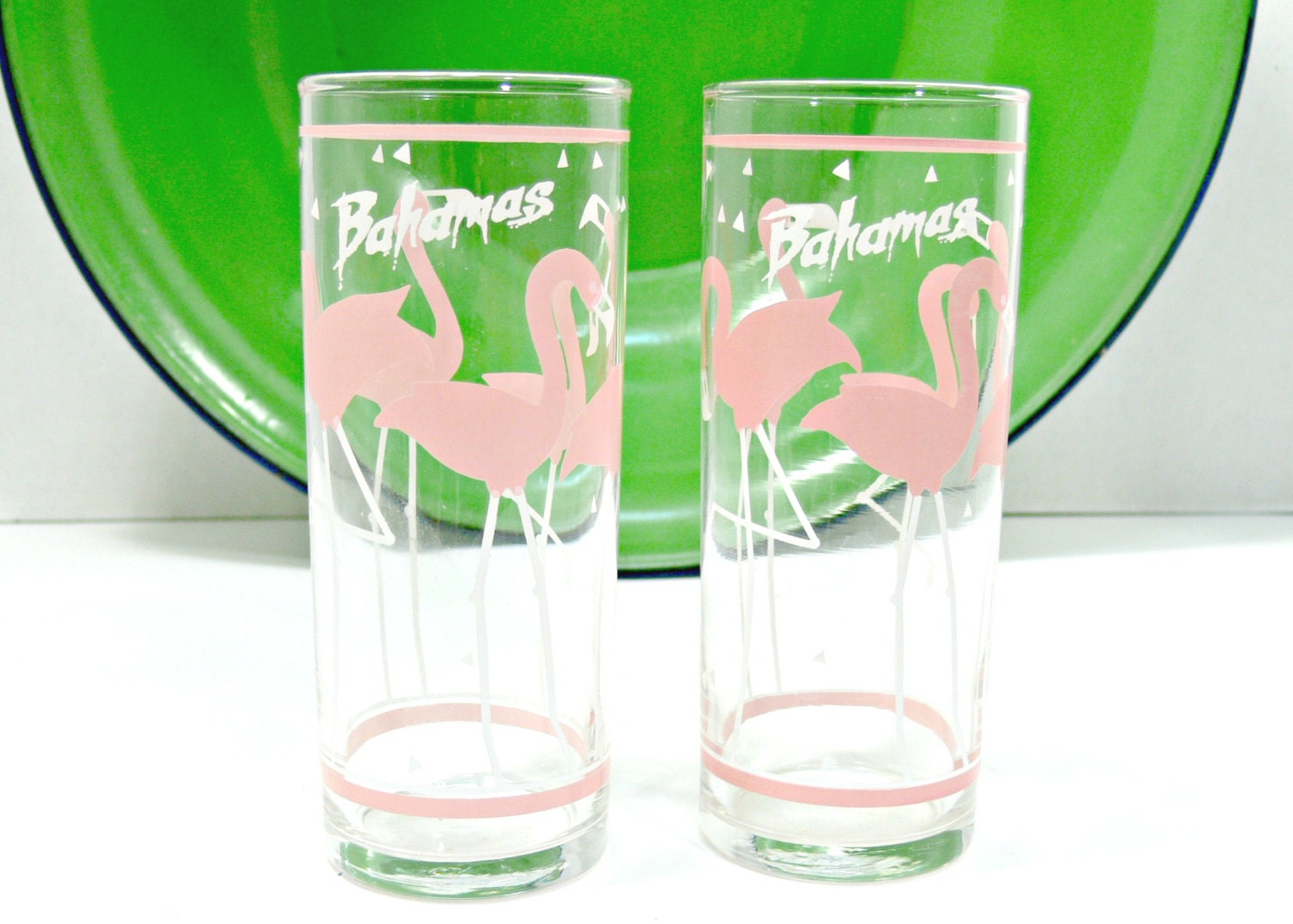 Pink Flamingo Bahamas Drinking Glasses Set of 2 by EitherOrFinds