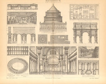 1890 Architecture of the Ancient Rome Antique Engraving to Frame