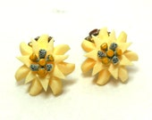 Vintage Carved Flower Celluloid Earrings Clips Cream Blue yellow Petite Unique Collectible 40s 50s Spring Easter