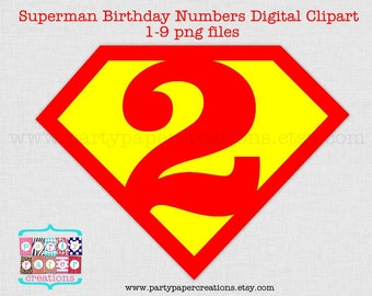Super hero Digital Birthday Numbers - Cartoon Superhero Numbers Clipart - Instant Download