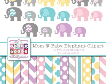 Elephant Clipart - Elephant Mom and Baby Clipart - Chevron Print - Digital Scrapbook Paper
