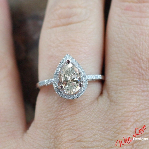 neo moissanite diamond pear halo engagement ring 77 1 ct. Black Bedroom Furniture Sets. Home Design Ideas