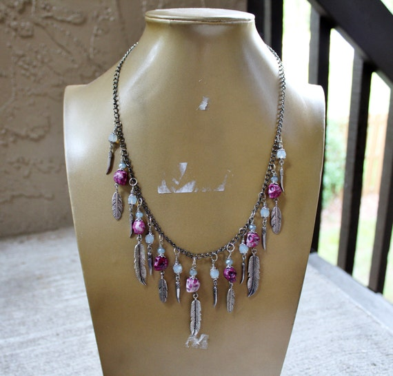 Tribal Style Skull and Feather Charm Necklace