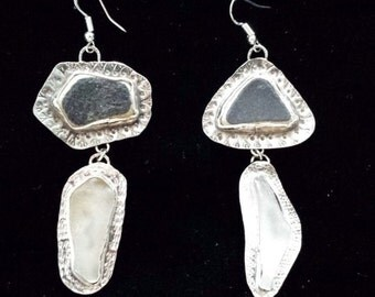 scottish china and beach glass dangly earrings fine silver hadn chased shiny silver boho unusual steampunk